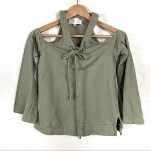 J.O.A. Olive Green Cold Shoulder Lace Up Sweater